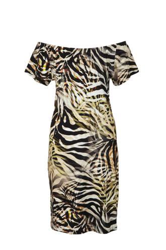 off shoulder jurk met zebra print