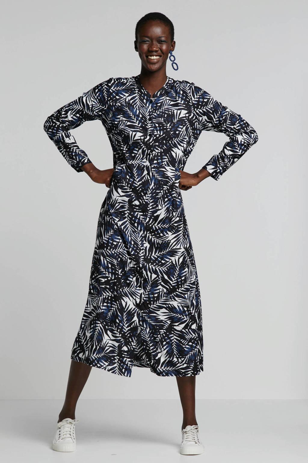 Geisha Jurk met bladprint, zwart/wit/donkerblauw