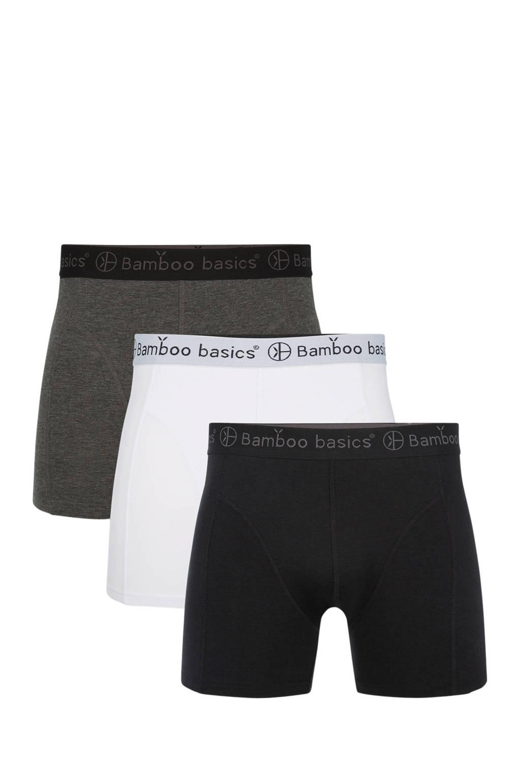 30fb348984a Bamboo Basics boxershort Rico met bamboe (set van 3), Grijs/wit/