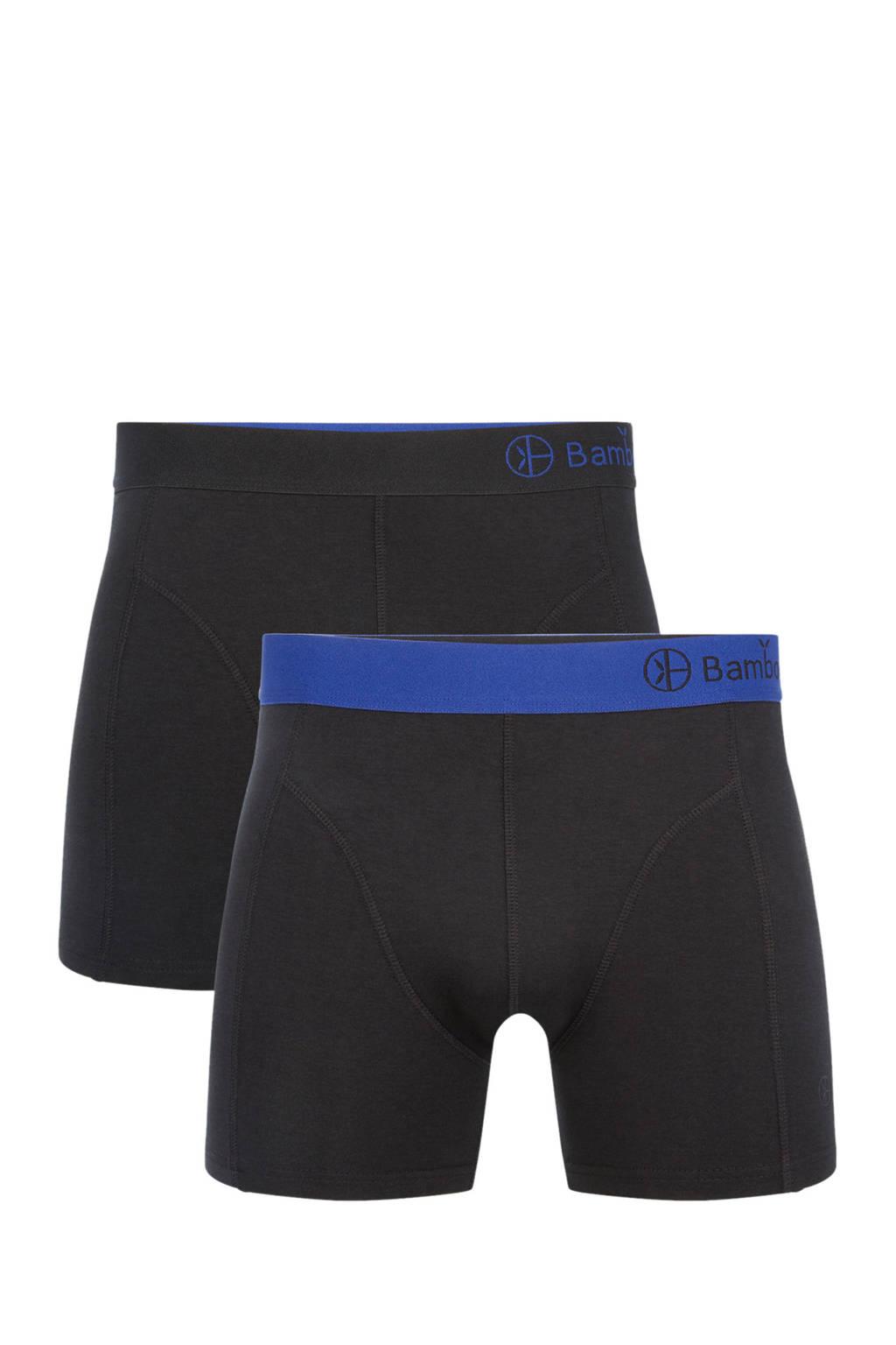 Bamboo Basics boxershort Levi met bamboe (set van 2), Zwart/blauw