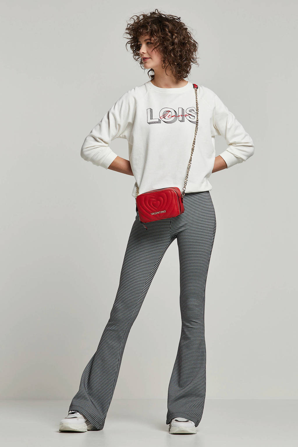 Lois trui met tekst en borduursels wit/zwart/rood, Wit/zwart/rood