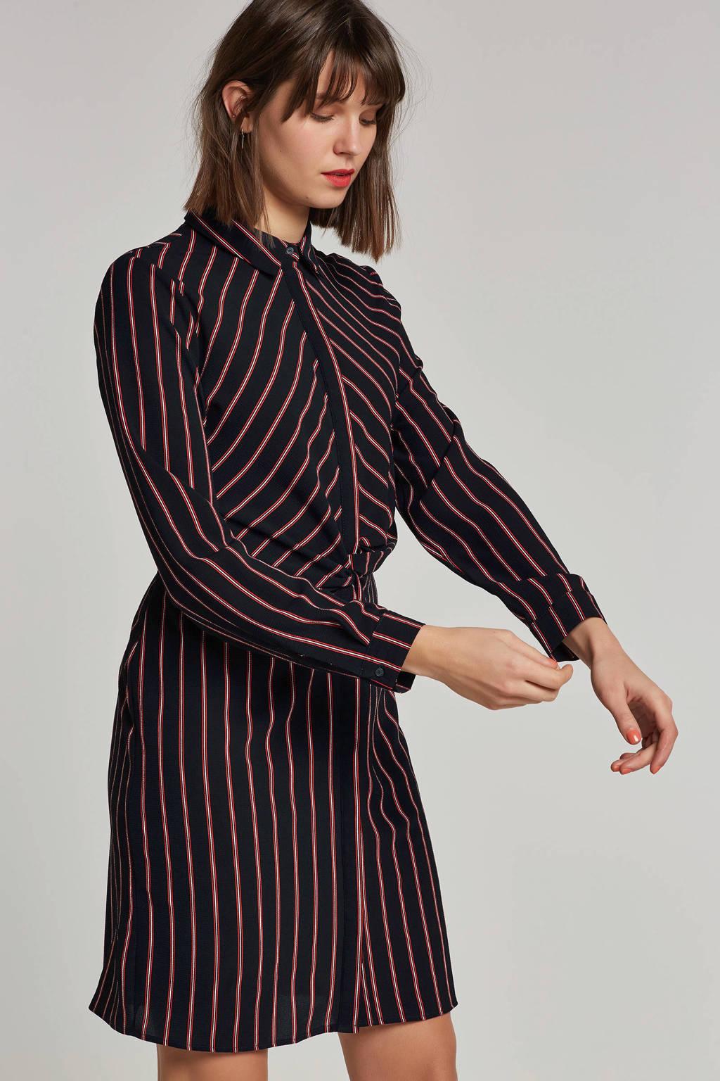 OBJECT gestreepte blousejurk, Donkerblauw/rood