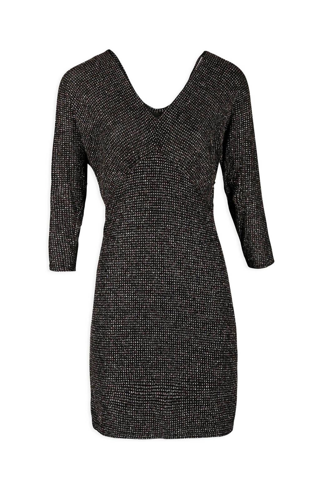 Morgan jurk met all over sierstenen zwart, Zwart