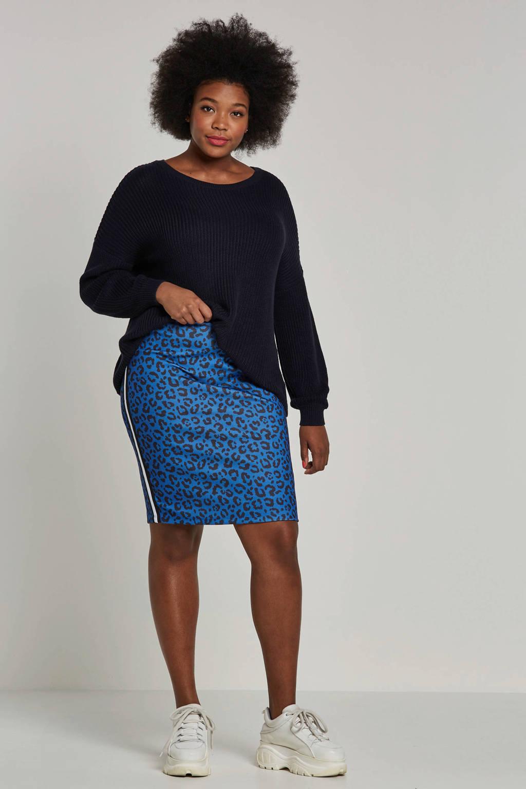 whkmp's great looks rok met contrasterende zij-streep en panterprint, Kobaltblauw/zwart