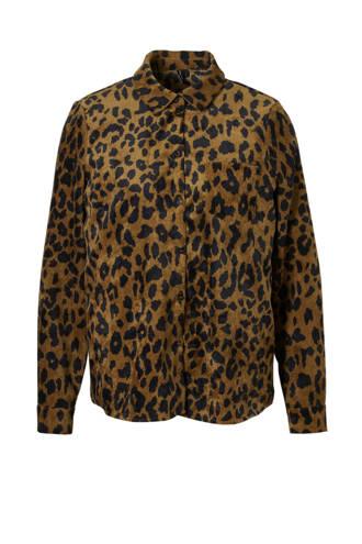 corduroy blouse met panter print