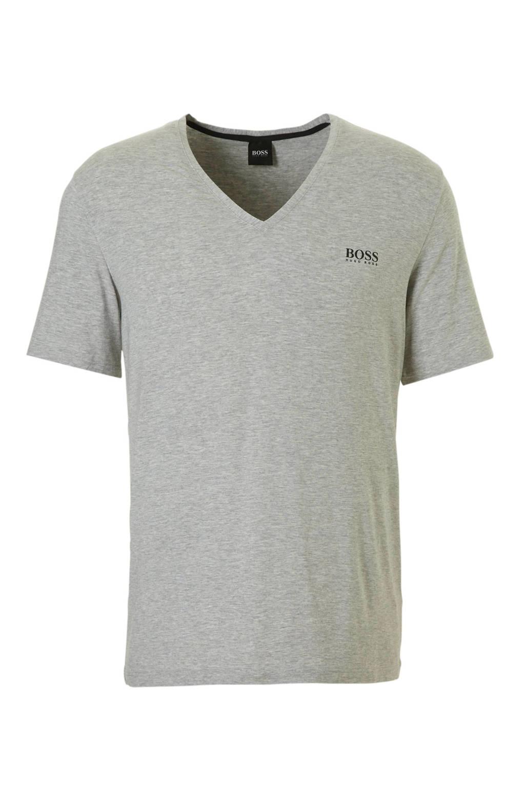 Boss T-shirt met V-hals grijs mêlee, grijs mêlee