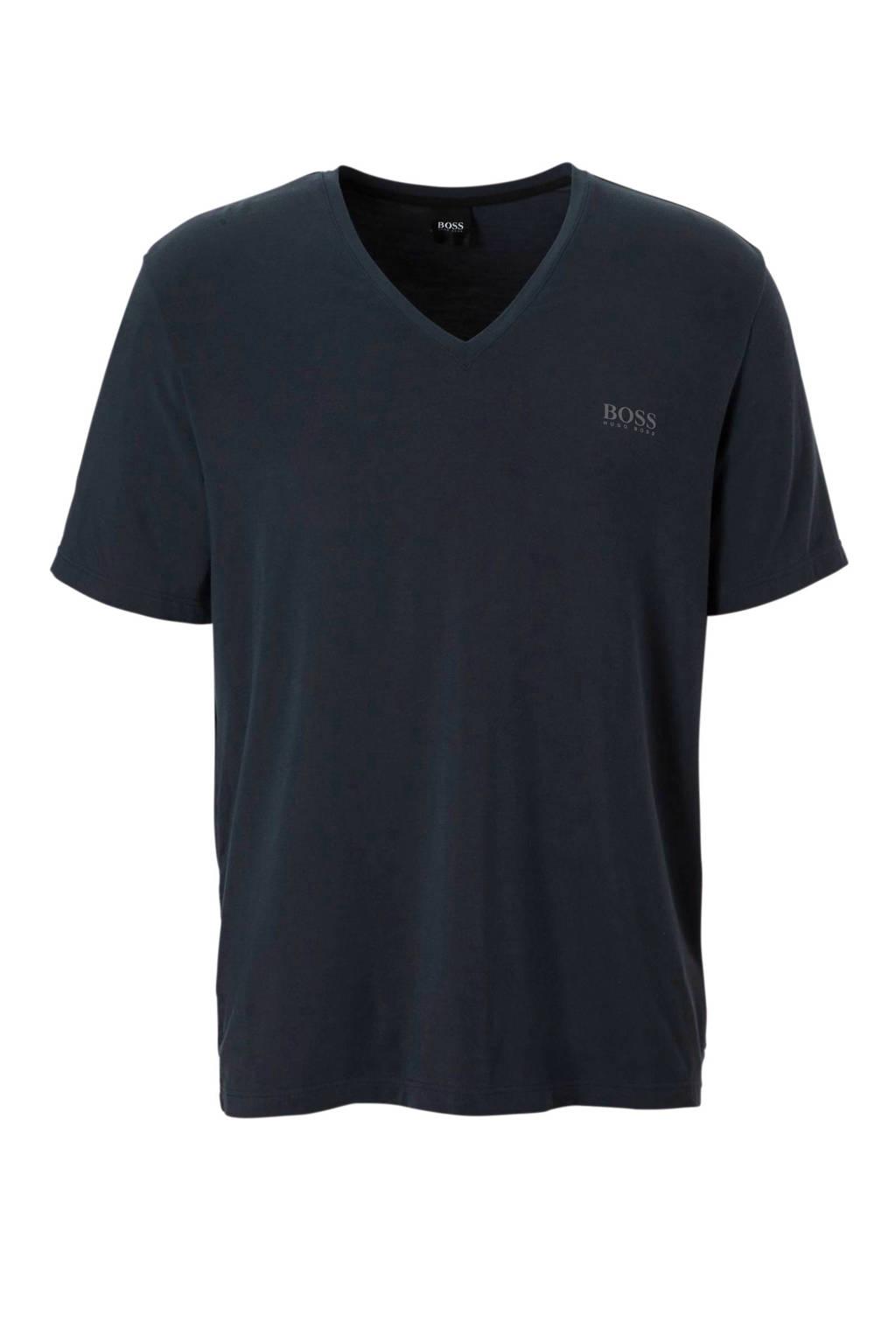 Boss t-shirt met katoen blauw, Blauw