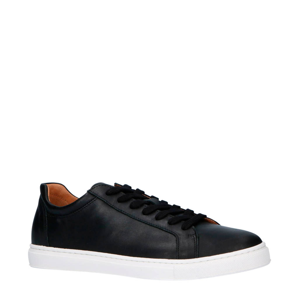 SELECTED HOMME  leren sneakers zwart, Zwart/wit
