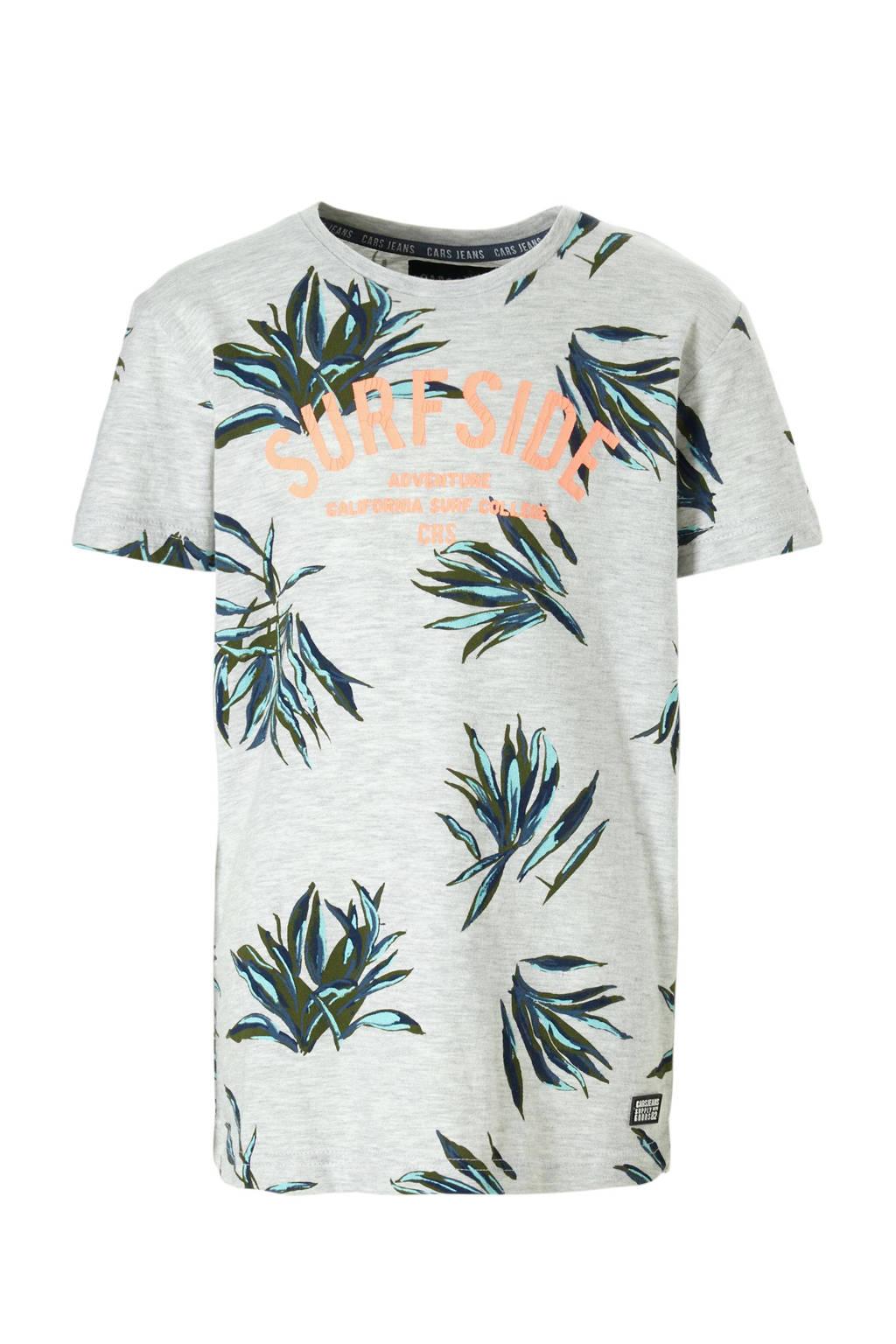 Cars T-shirt Basio met bladeren en tekst grijs, Grijs melange/oranje