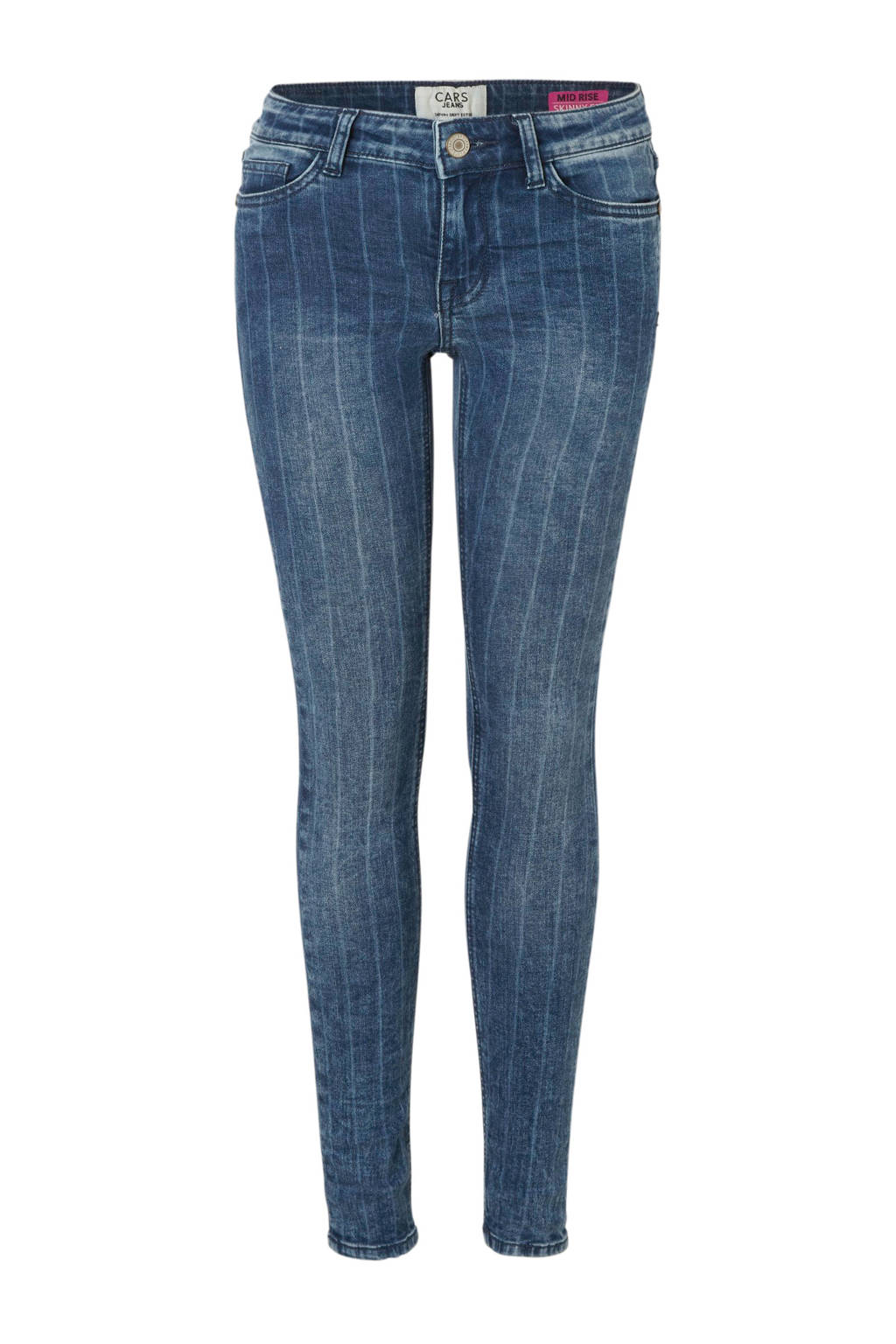 Cars gestreepte skinny fit jeans Maggy blauw, Stonewashed