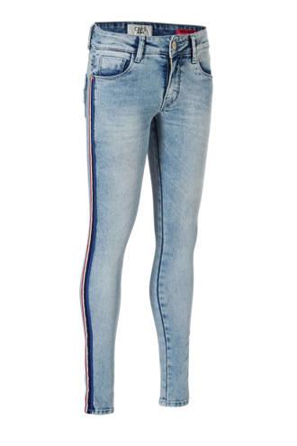 skinny fit jeans met zijbies Zelia lichtblauw