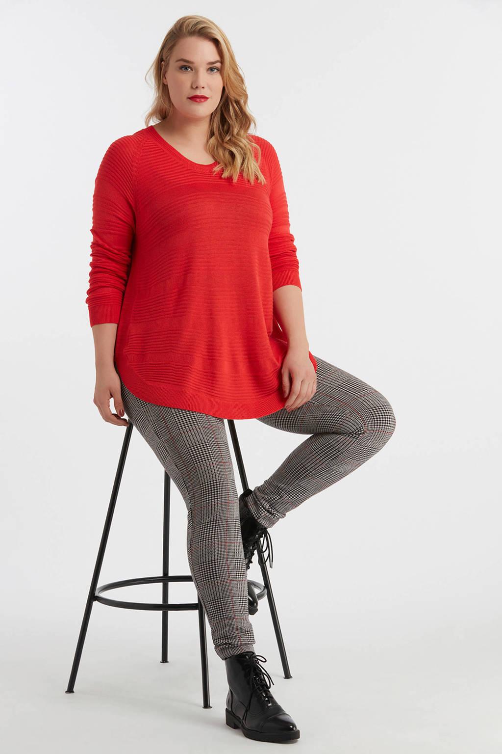MS Mode legging met ruitprint, Zwart/wit/roze
