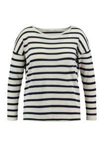 MS Mode gestreepte sweater met glitter blauw (dames)