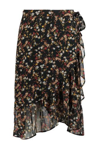 overslag rok met bloemenprint