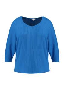 MS Mode geribde top blauw (dames)