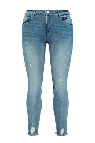 7/8 jeans met slijtage details denim
