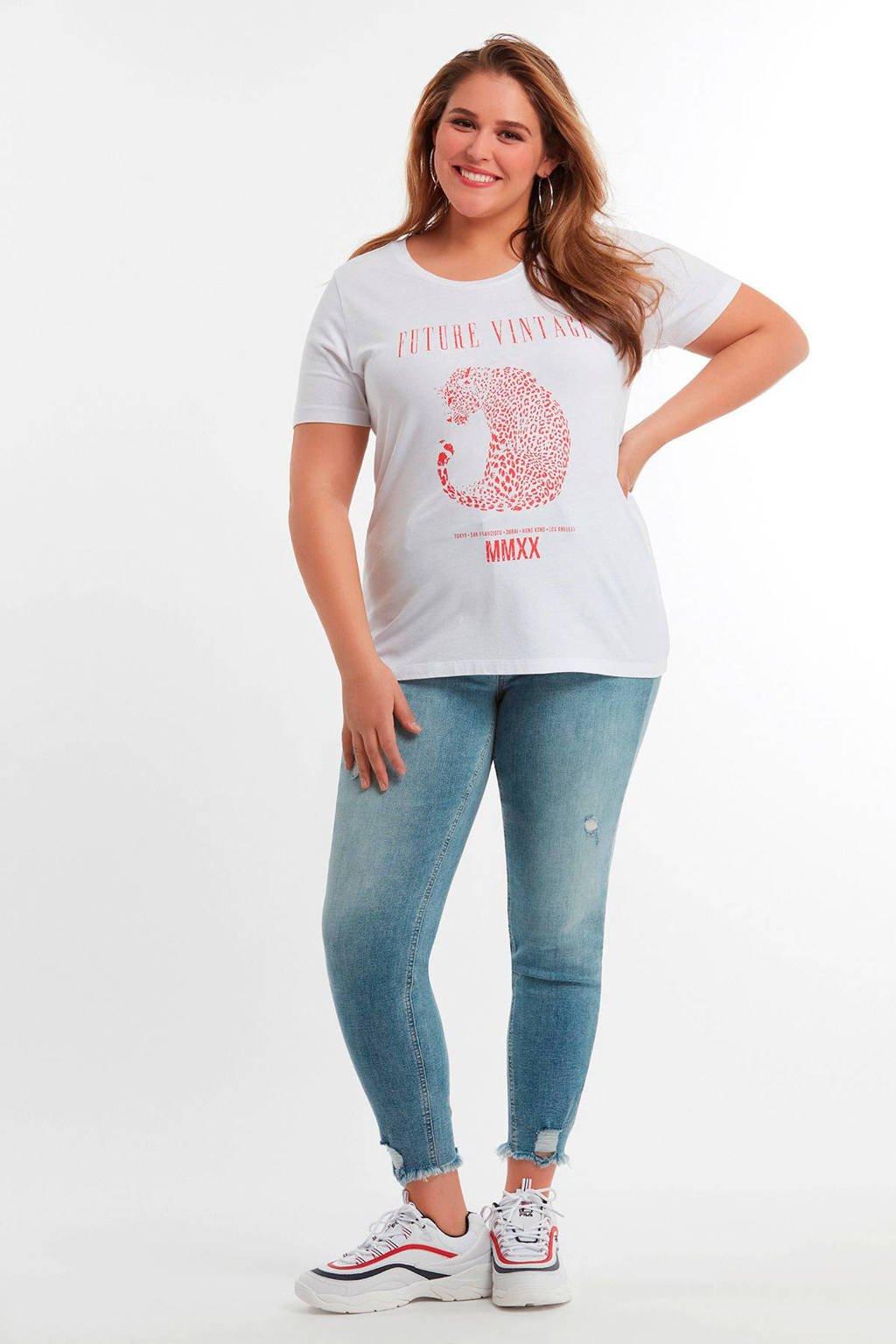 shirt Wit Ms Opdruk Modet Met Tqzzw0