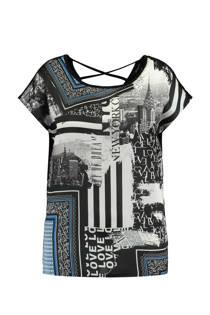 MS Mode top met glanzende panel print zwart (dames)