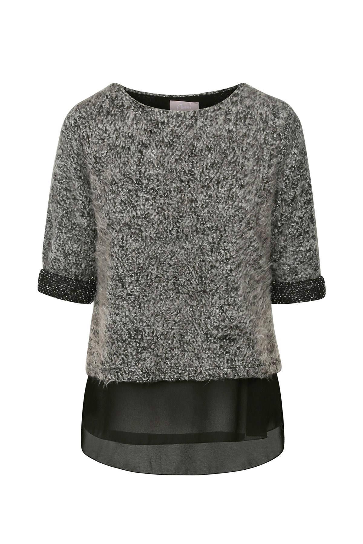 Cassis melée sweater met semi-transparant detail grijs (dames)