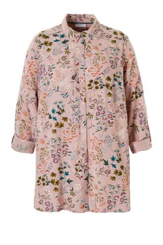 XL Yessica gebloemde blouse roze