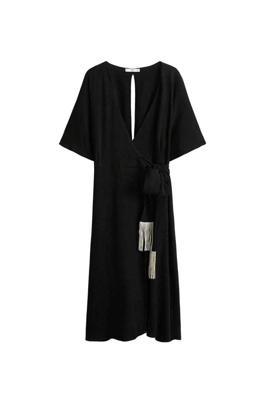 Mango jurk met decoratieve fransjes zwart, Zwart