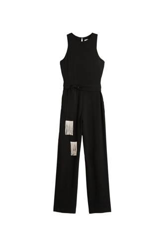 jumpsuit met decoratieve franjes zwart
