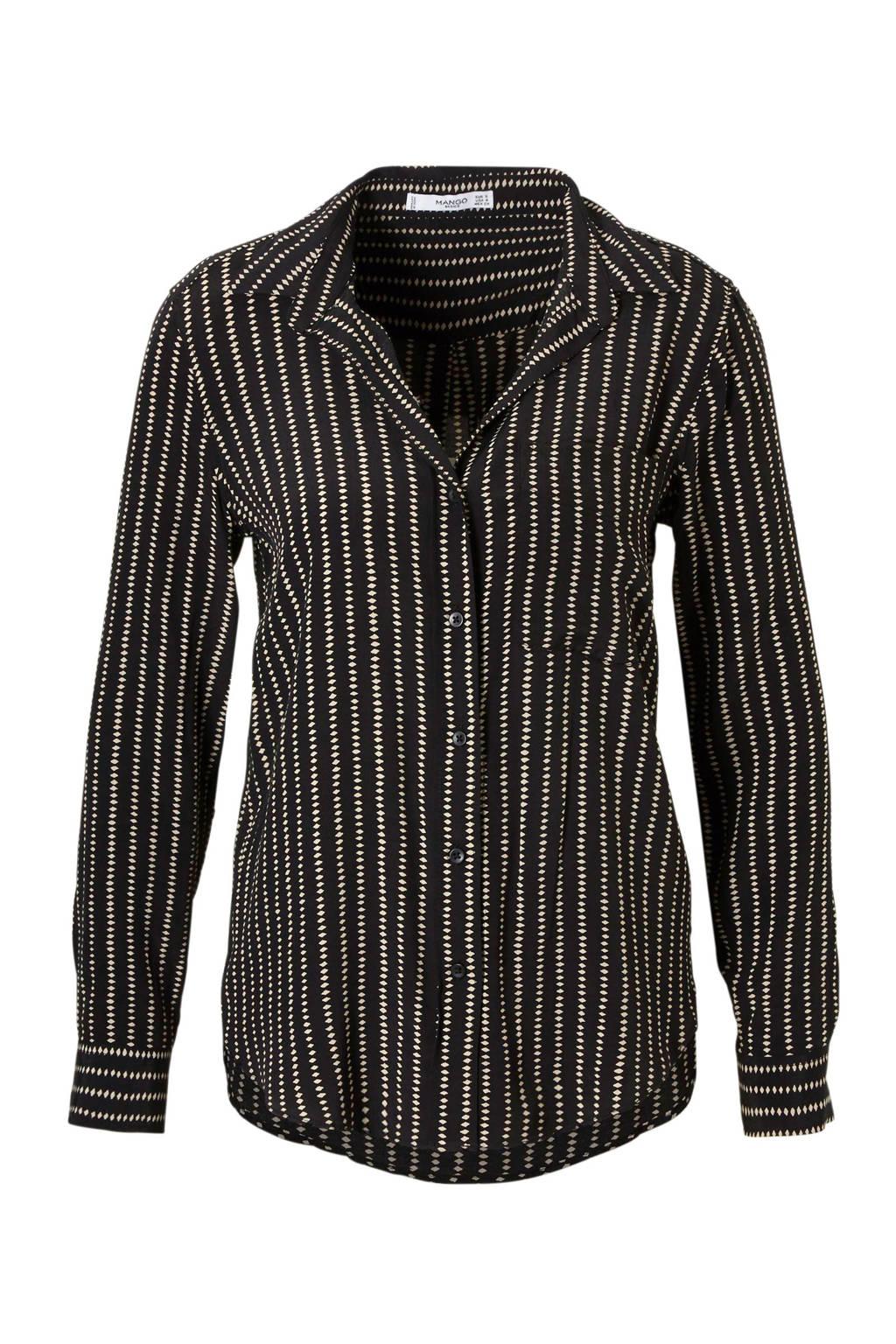 Mango blouse met print, Zwart/wit