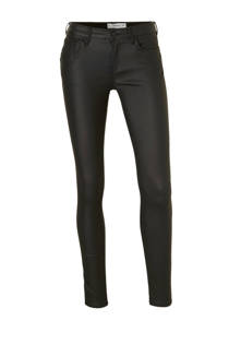 Mango skinny fit gecoated broek zwart