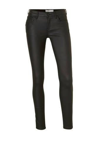 skinny fit gecoated broek zwart