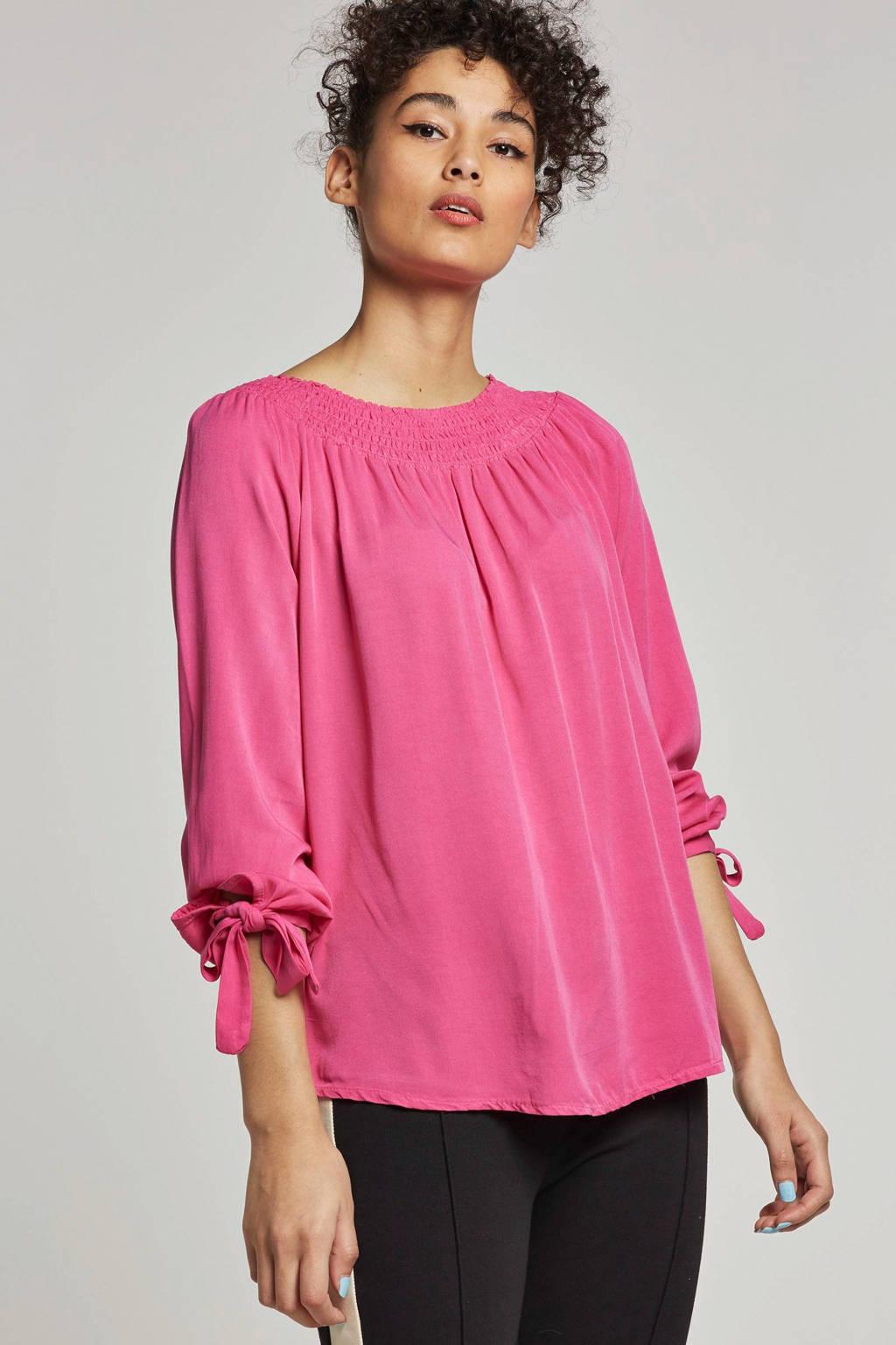 Geisha off shoulder top roze, Roze