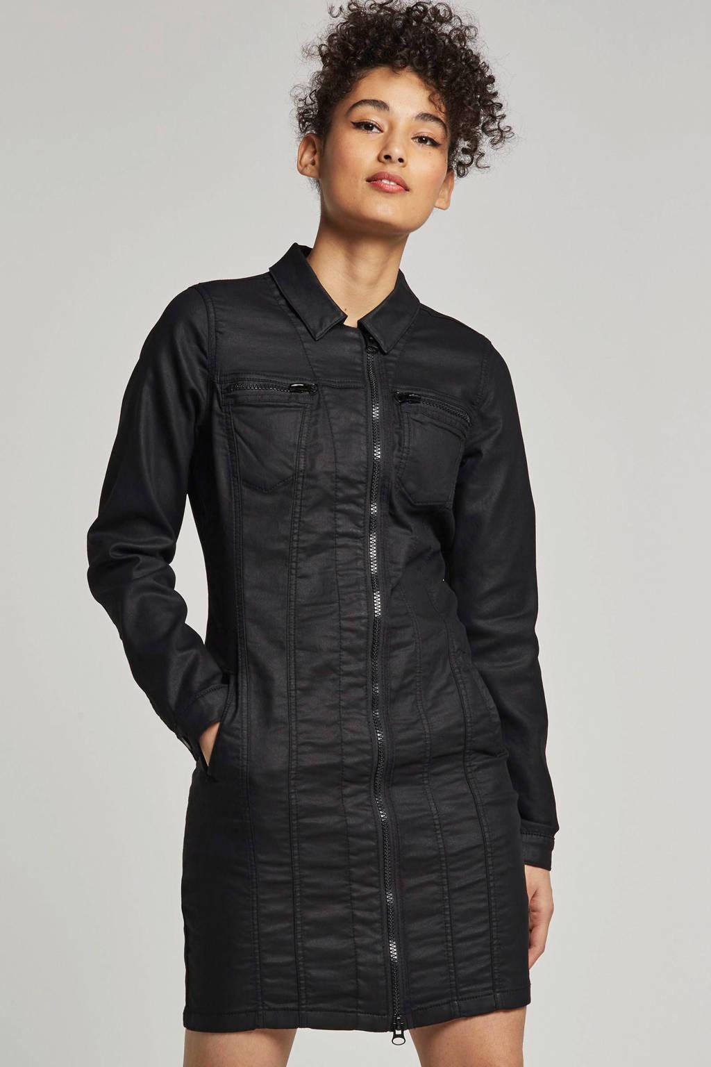 Geisha jurk met sier stiksels, Zwart