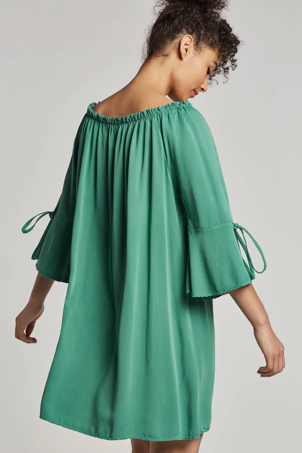 Geisha off shoulder jurk groen, Groen