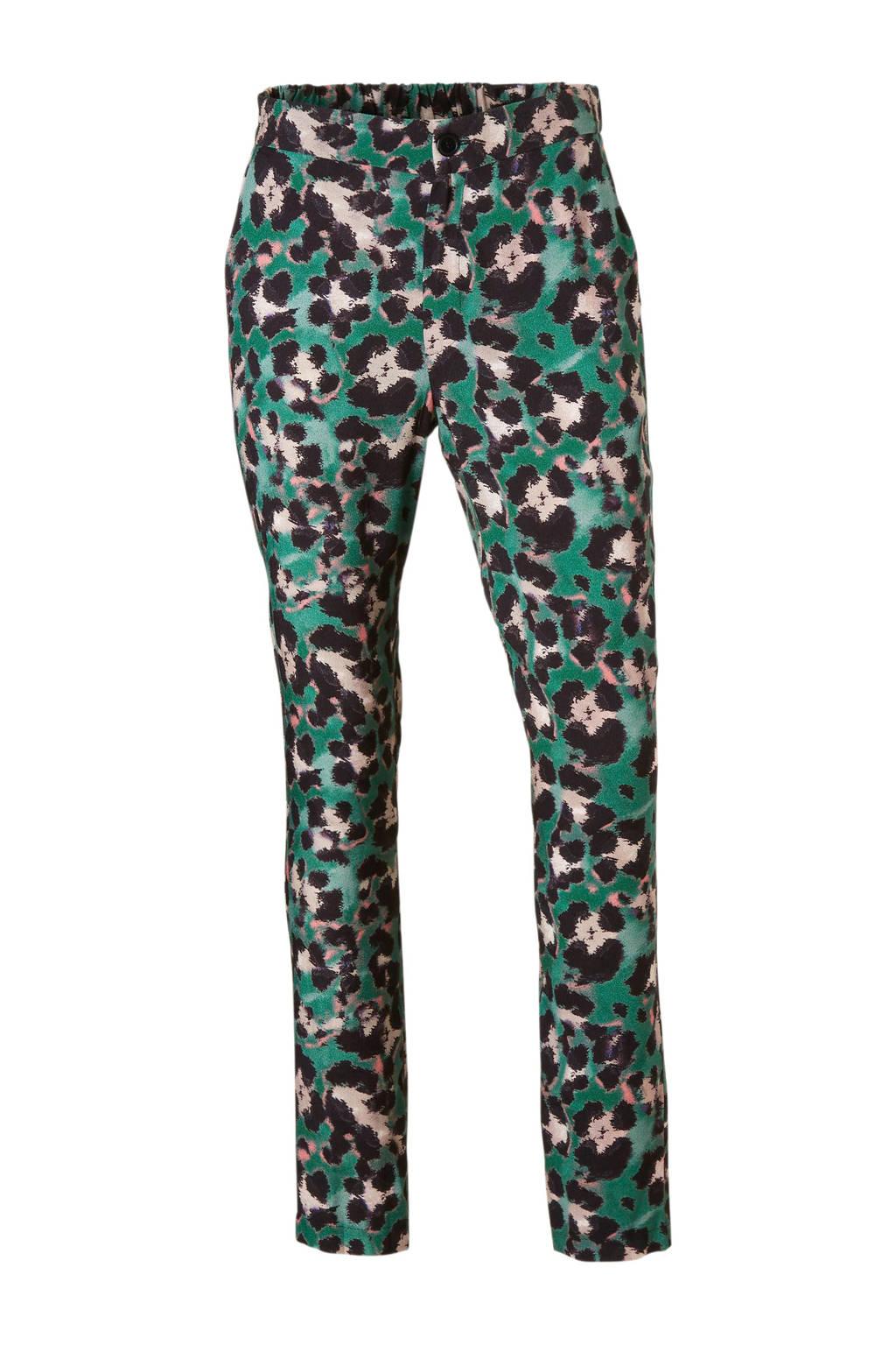 Geisha slim fit broek met panterprint, Groen/zwart/wit/roze