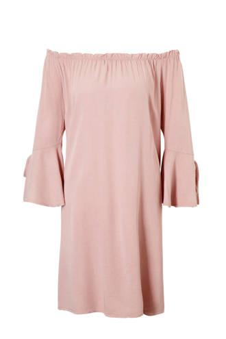 off shoulder jurk roze