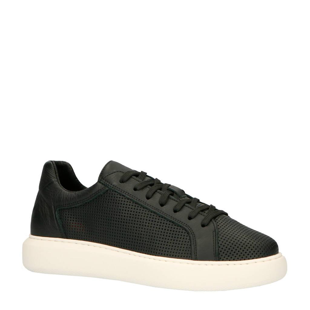 Bianco  leren sneakers zwart, Zwart/wit