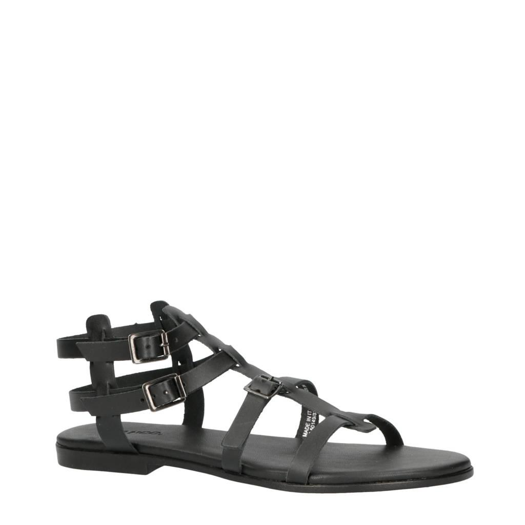 Bianco leren sandalen zwart, Zwart