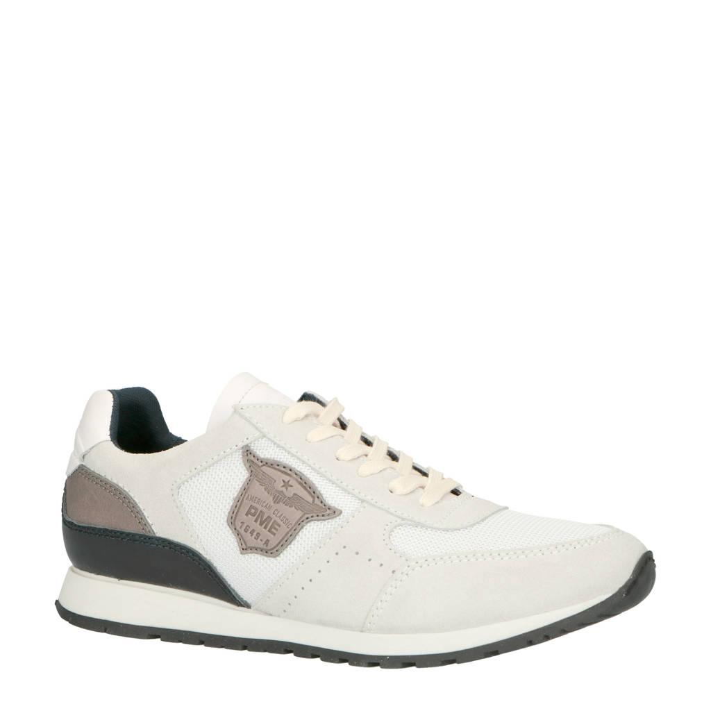 PME Legend   Runner Barge suède sneakers beige, Beige/wit