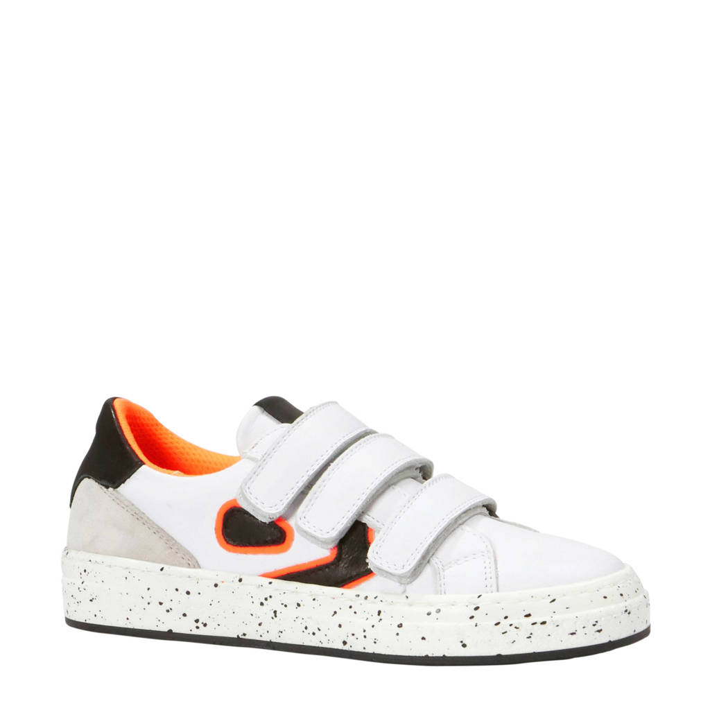 Kanjers  sneakers met suède, Wit/donkerblauw