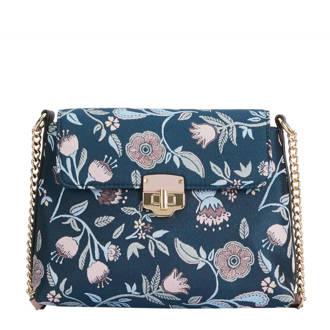 crossbody tas met bloemprint blauw
