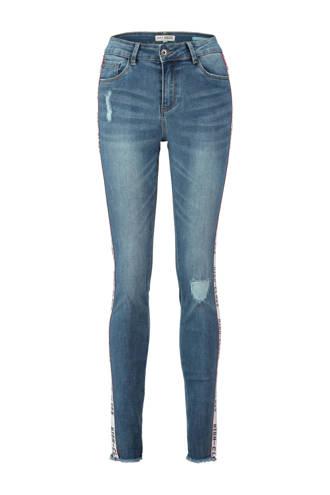 high waist skinny jeans met zijstreep
