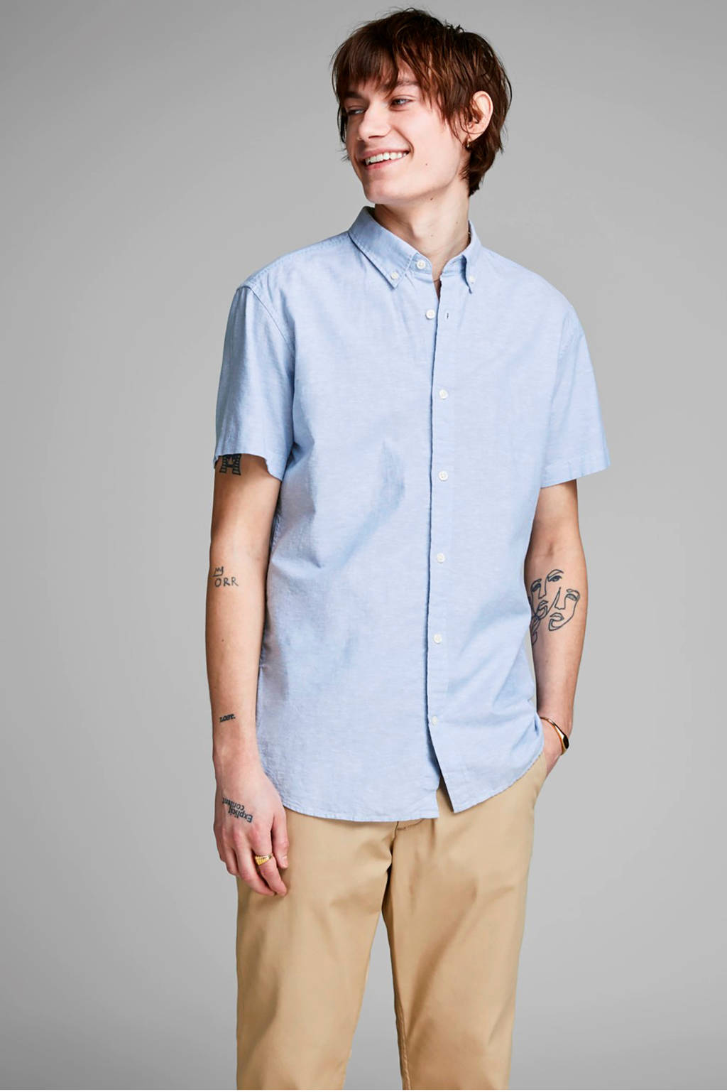 JACK & JONES ESSENTIALS gemêleerd regular fit overhemd lichtblauw, Lichtblauw