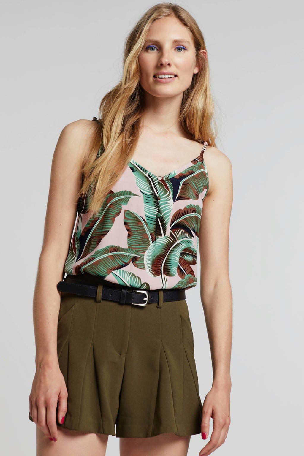 Lost Ink high waist straight fit short groen, Groen
