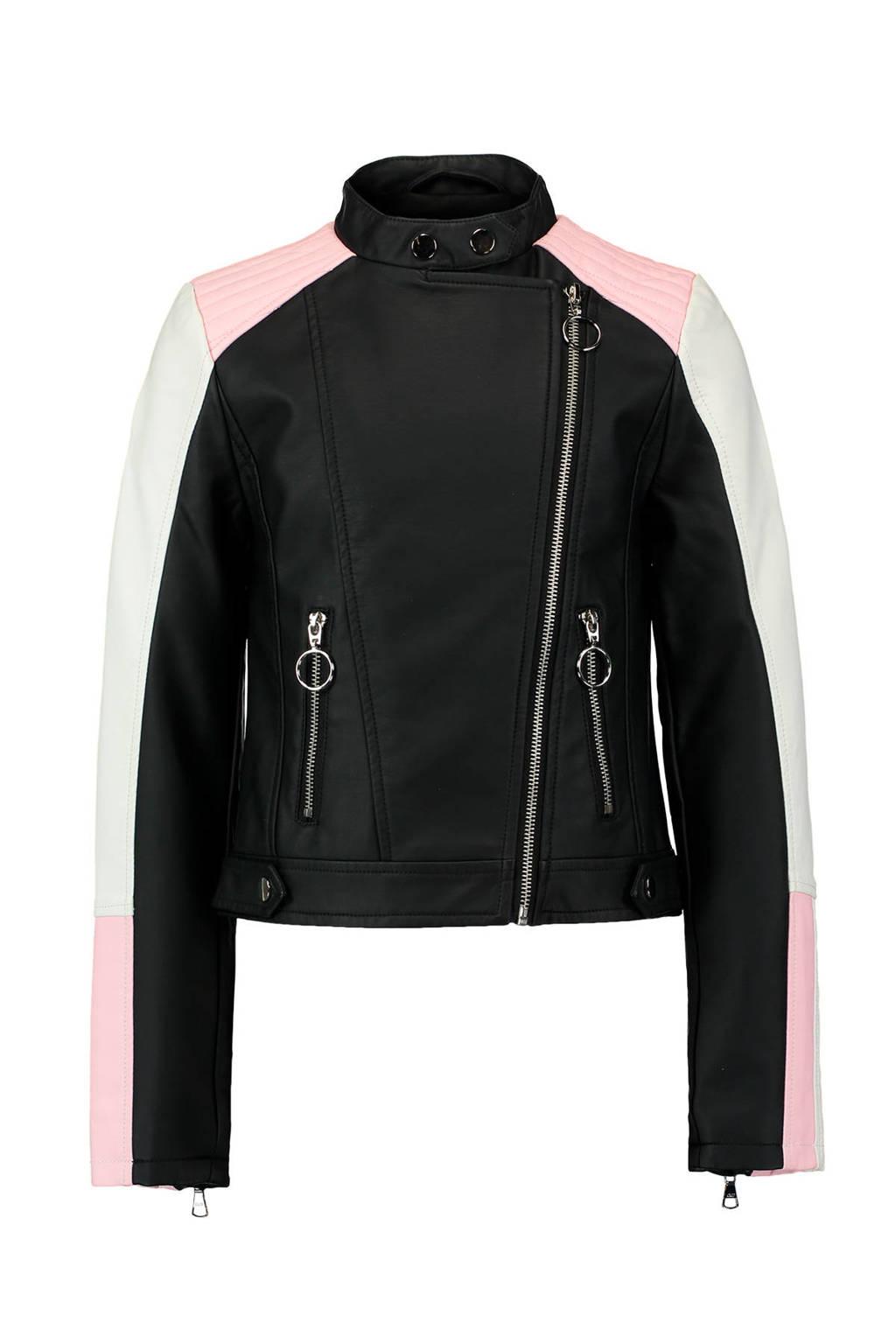 CoolCat imitatieleren bikerjack zwart, Zwart/wit/roze
