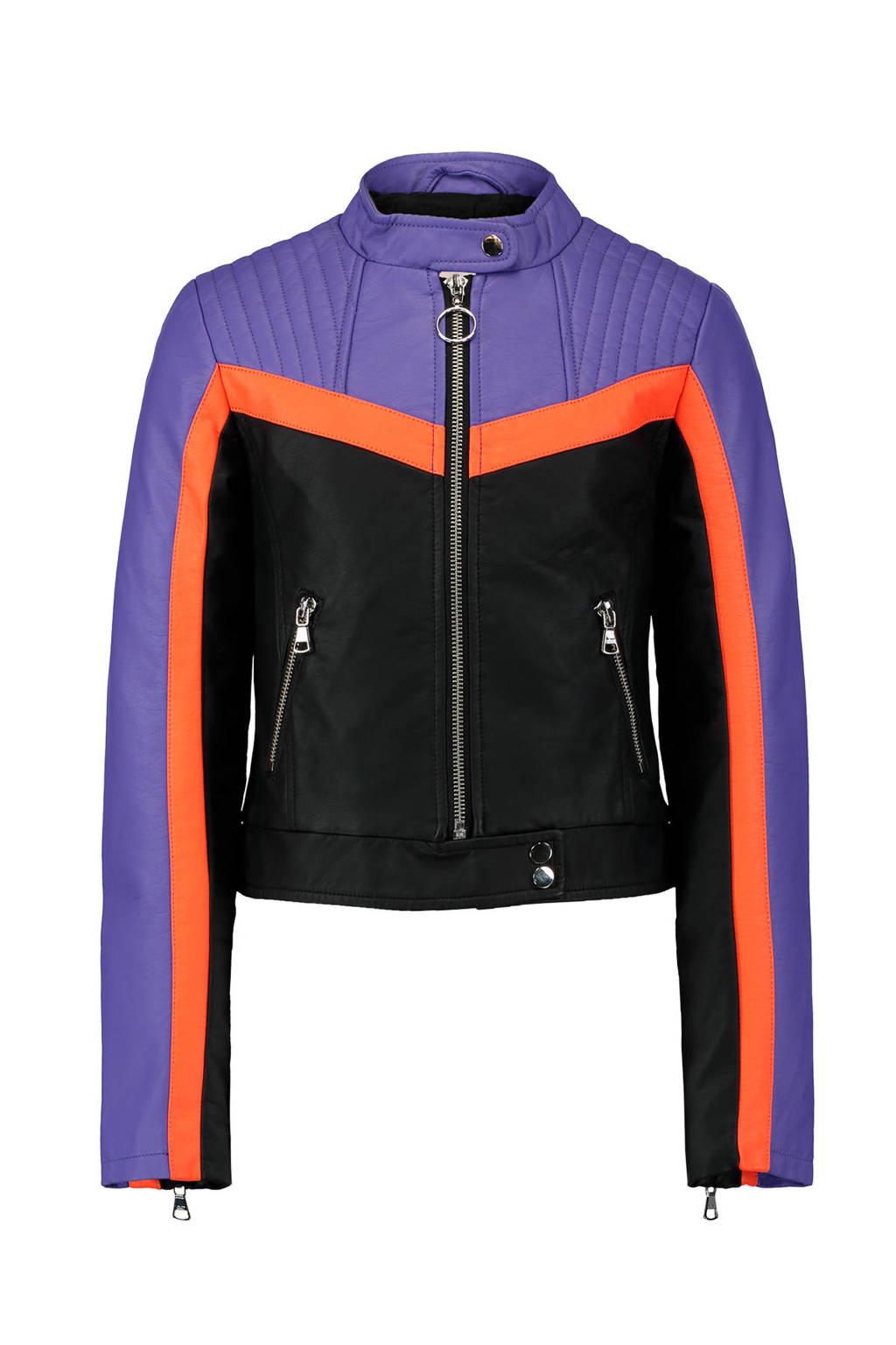 CoolCat imitatieleren bikerjack, Zwart/paars/oranje