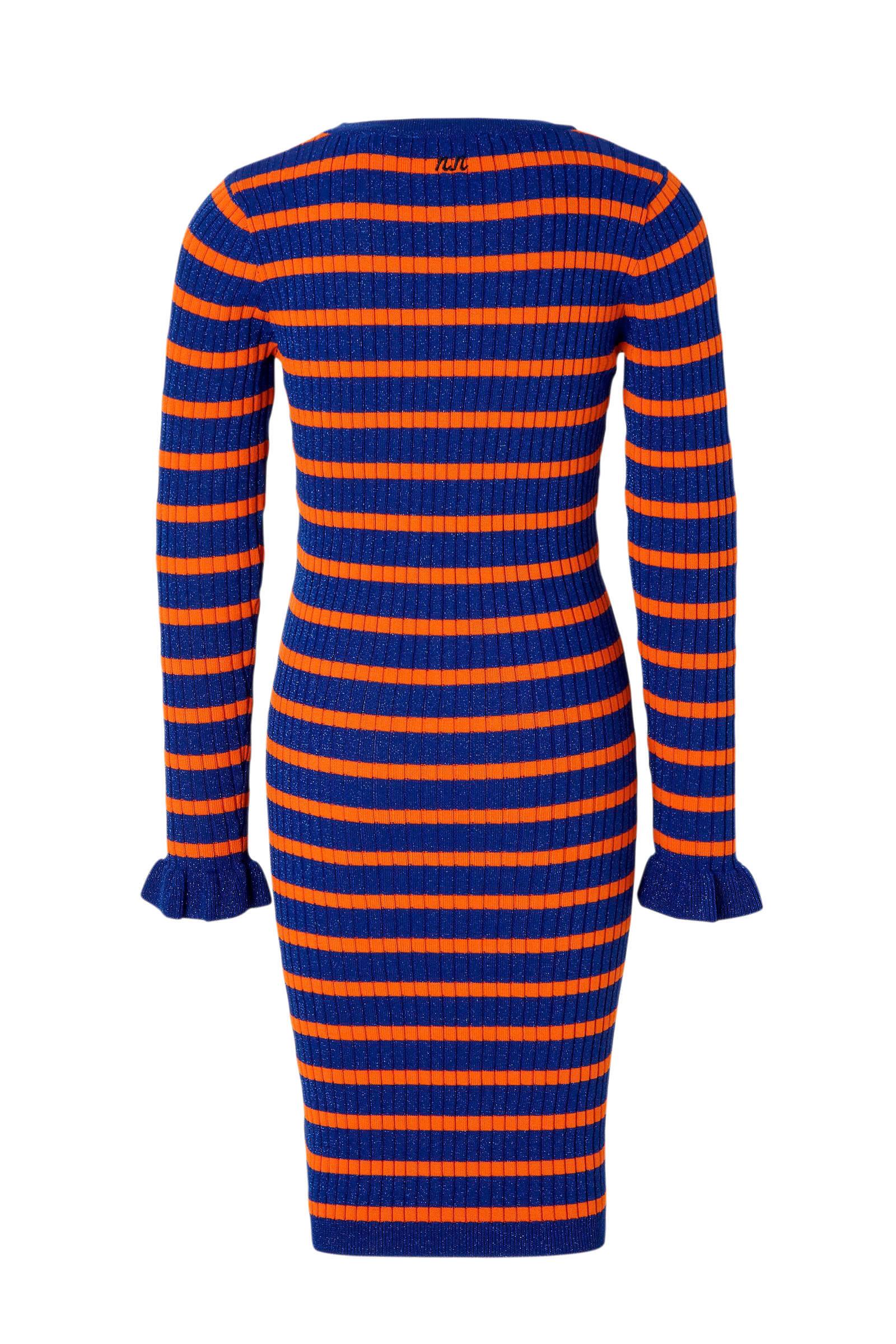 NIK&NIK gestreepte jurk blauworanje | wehkamp