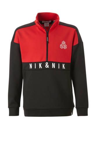 sweater Caleb met logo zwart/rood