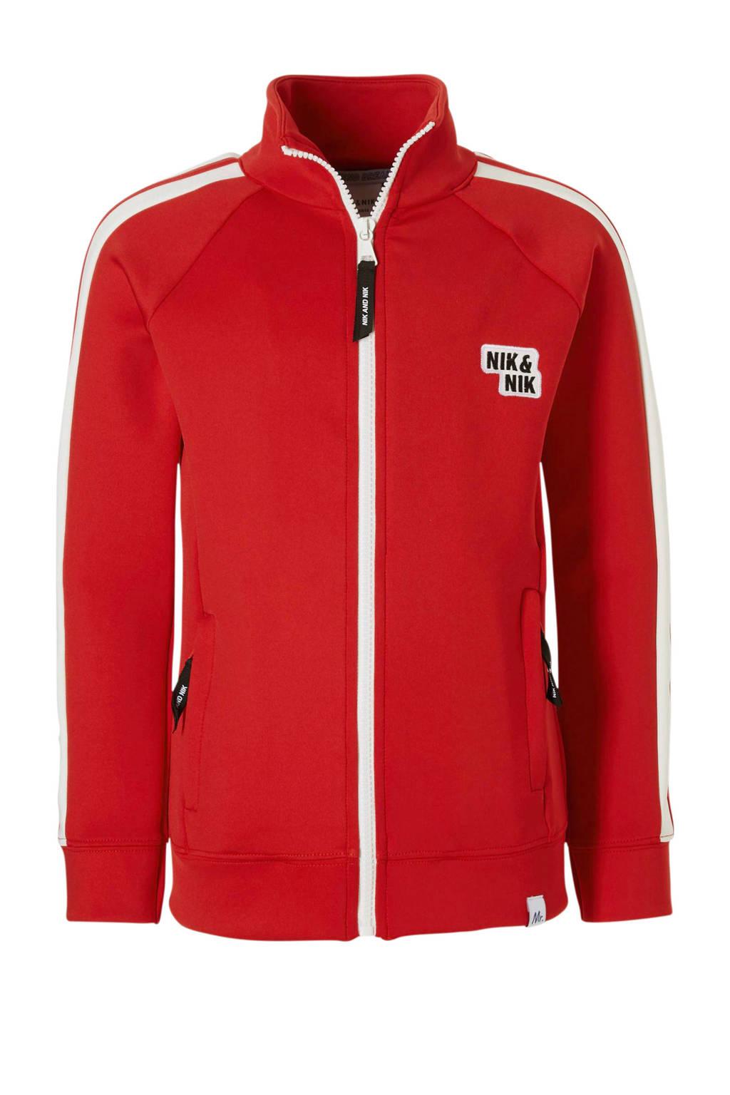 NIK&NIK trainingsvest met contrastbies Mark rood, Rood/wit