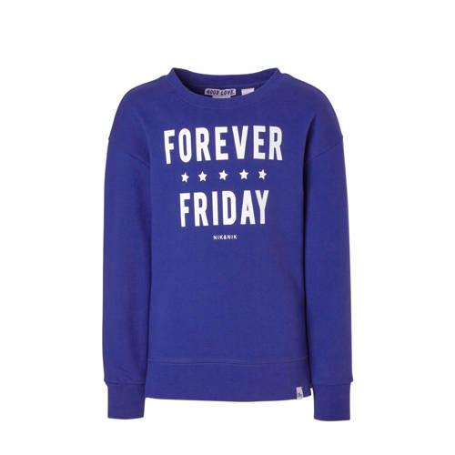 NIK&NIK sweater met tekst Forever kobaltblauw kopen