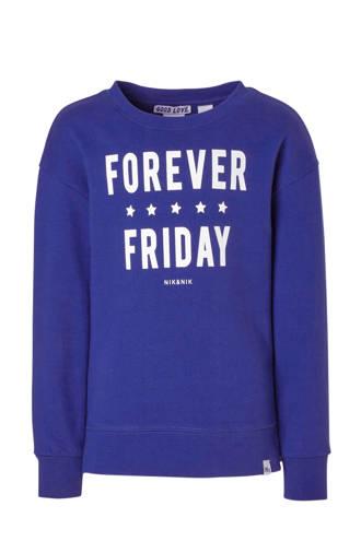 sweater met tekst Forever kobaltblauw