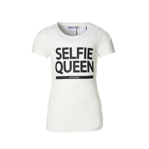 NIK&NIK T-shirt met tekst Selfie offwhite